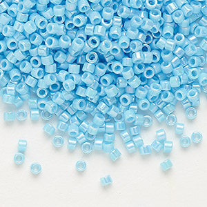seed bead, delica, glass, opaque rainbow turquoise blue, (db164), #11 round. sold per pkg of 250 grams.