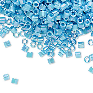 seed bead, delica, glass, opaque rainbow turquoise blue, (dbl0164), #8 round. sold per 50-gram pkg.