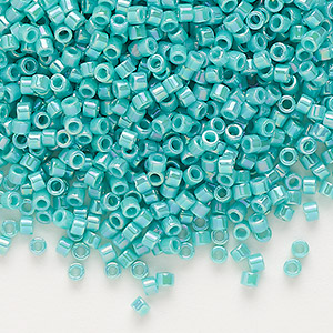 seed bead, delica, glass, opaque rainbow turquoise green, (db166), #11 round. sold per 7.5-gram pkg.