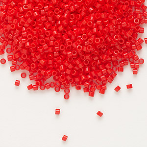 seed bead, delica, glass, opaque red, (db727), #11 round. sold per 50-gram pkg.