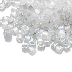 seed bead, delica, glass, opaque silk rainbow white, (db670), #11 round. sold per pkg of 250 grams.