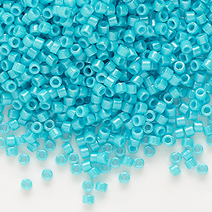 seed bead, delica, glass, opaque turquoise green, (db658), #11 round. sold per 7.5-gram pkg.