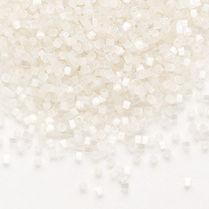 seed bead, delica, glass, silk luster ivory, (db673), #11 round. sold per 50-gram pkg.