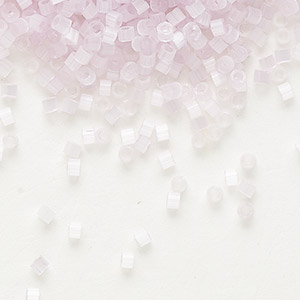 seed bead, delica, glass, silk pale pink, (db820), #11 round. sold per 50-gram pkg.
