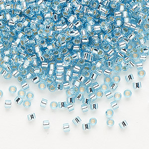 seed bead, delica, glass, silver-lined aqua blue, (db44), #11 round. sold per 50-gram pkg.