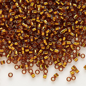 seed bead, delica, glass, silver-lined bronze, (db144), #11 round. sold per 7.5-gram pkg.