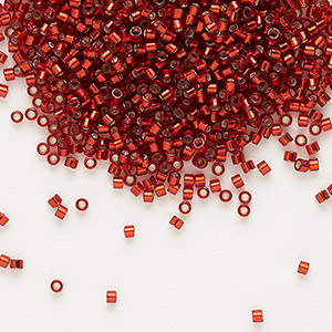 seed bead, delica, glass, silver-lined dark red, (db603), #11 round. sold per 7.5-gram pkg.