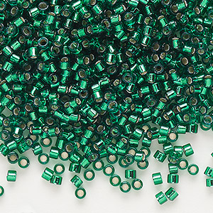 seed bead, delica, glass, silver-lined emerald green, (db605), #11 round. sold per 7.5-gram pkg.