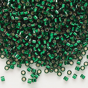 seed bead, delica, glass, silver-lined forest green, (db148), #11 round. sold per pkg of 250 grams.