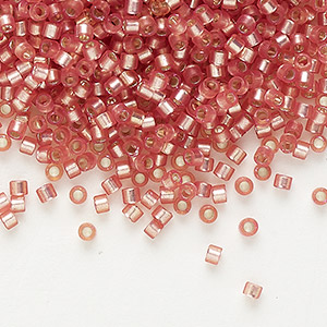 seed bead, delica, glass, silver-lined frosted dark rose, (db685), #11 round. sold per 7.5-gram pkg.