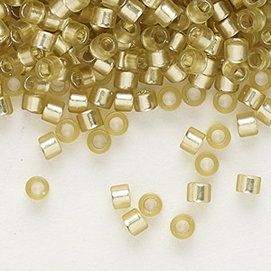 seed bead, delica, glass, silver-lined frosted jonquil, (db686), #11 round. sold per 50-gram pkg.
