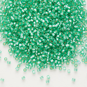 seed bead, delica, glass, silver-lined frosted mint green, (db691), #11 round. sold per 50-gram pkg.