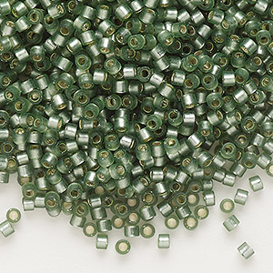 seed bead, delica, glass, silver-lined frosted moss, (db689), #11 round. sold per 7.5-gram pkg.