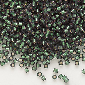 seed bead, delica, glass, silver-lined frosted olive, (db690), #11 round. sold per 7.5-gram pkg.