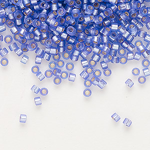 seed bead, delica, glass, silver-lined frosted purple, (db694), #11 round. sold per 7.5-gram pkg.