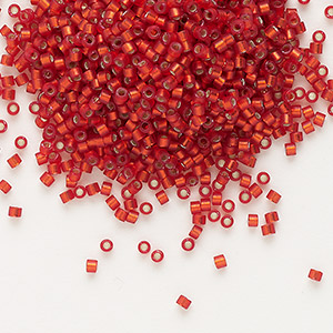 seed bead, delica, glass, silver-lined frosted ruby red, (db683), #11 round. sold per 7.5-gram pkg.