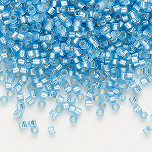 seed bead, delica, glass, silver-lined frosted sky blue, (db692), #11 round. sold per 7.5-gram pkg.