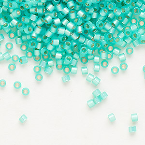 seed bead, delica, glass, silver-lined opal aqua green, (db627), #11 round. sold per 7.5-gram pkg.