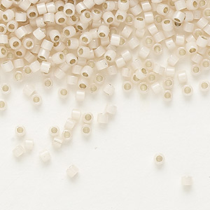 seed bead, delica, glass, silver-lined opal blush, (db1452), #11 round. sold per 50-gram pkg.