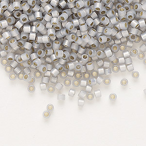 seed bead, delica, glass, silver-lined opal periwinkle, (db1455), #11 round. sold per 7.5-gram pkg.