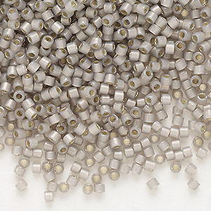 seed bead, delica, glass, silver-lined opal taupe, (db1456), #11 round. sold per 50-gram pkg.