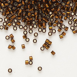 seed bead, delica, glass, silver-lined smoke topaz, (db612), #11 round. sold per 7.5-gram pkg.