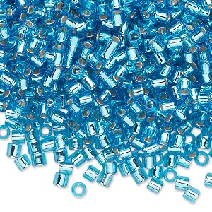 seed bead, delica, glass, silver-lined transparent aqua blue, (dbl44), #8 round, 1.5mm hole. sold per 7.5-gram pkg.
