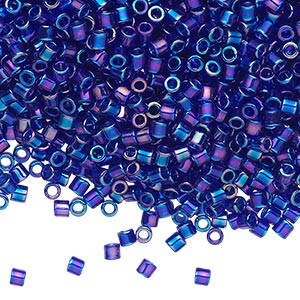 seed bead, delica, glass, transparent cobalt rainbow, (dbl178), #8 round, 1.5mm hole. sold per 50-gram pkg.