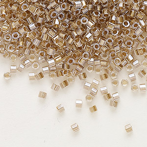 seed bead, delica, glass, transparent color-lined champagne, (dbc-0907), #11 cut. sold per 250-gram pkg.