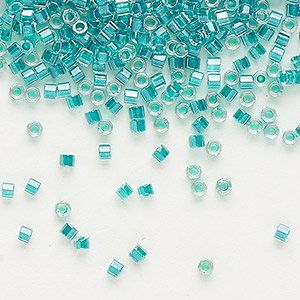 seed bead, delica, glass, transparent color-lined dark turquoise blue, (dbc-0918), #11 cut. sold per 250-gram pkg.