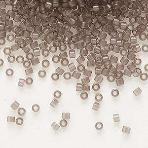seed bead, delica, glass, transparent crystal charcoal, (db1417), #11 round. sold per pkg of 250 grams.