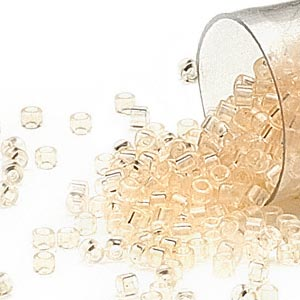 seed bead, delica, glass, transparent crystal cream, (db1409), #11 round. sold per 50-gram pkg.