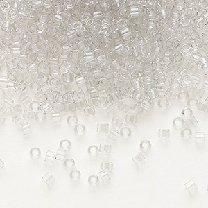 seed bead, delica, glass, transparent crystal grey ice, (db1408), #11 round. sold per 7.5-gram pkg.
