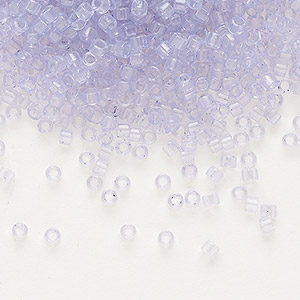 seed bead, delica, glass, transparent crystal lavender ice, (db1407), #11 round. sold per 50-gram pkg.