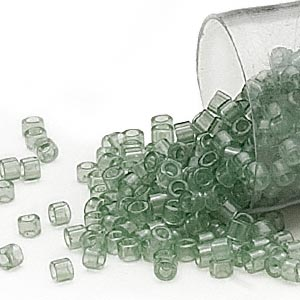 seed bead, delica, glass, transparent crystal mint green, (db1415), #11 round. sold per 7.5-gram pkg.