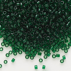 seed bead, delica, glass, transparent emerald green, (db713), #11 round. sold per pkg of 250 grams.