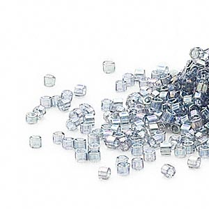 seed bead, delica, glass, transparent glazed luster rainbow light grey, (dbc-0111), #11 cut. sold per pkg of 50 grams.