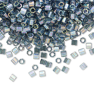 seed bead, delica, glass, transparent glazed luster rainbow light grey, (dblc-0111), #8 cut. sold per 7.5-gram pkg.