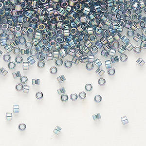 seed bead, delica, glass, transparent glazed luster rainbow light grey, (db111), #11 round. sold per 7.5-gram pkg.