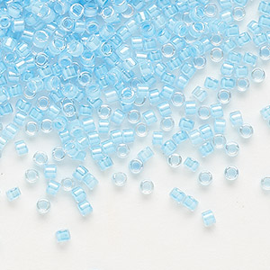 seed bead, delica, glass, transparent luminous color-lined neon blue, (db2039), #11 round. sold per 50-gram pkg.