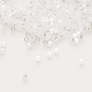 seed bead, delica, glass, transparent luster crystal, (dbc-0050), #11 cut. sold per 250-gram pkg.