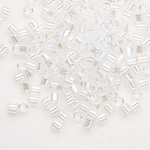 seed bead, delica, glass, transparent luster crystal, (dbl50), #8 round. sold per 7.5-gram pkg.