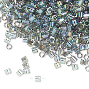 seed bead, delica, glass, transparent luster rainbow grey blue, (dbl0107), #8 round. sold per 7.5-gram pkg.