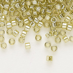 seed bead, delica, glass, transparent luster yellow-green, (db124), #11 round. sold per pkg of 250 grams.