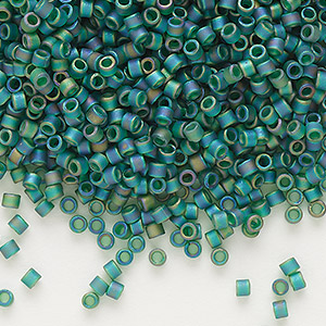 seed bead, delica, glass, transparent matte rainbow emerald green, (db859), #11 round. sold per 50-gram pkg.