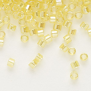 seed bead, delica, glass, transparent rainbow lemonade, (db171), #11 round. sold per pkg of 250 grams.