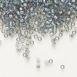 seed bead, delica, glass, transparent rainbow silver grey, (db179), #11 round. sold per pkg of 250 grams.