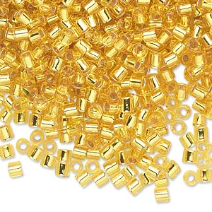 seed bead, delica, glass, transparent silver-lined yellow, (dbl145), #8 round, 1.5mm hole. sold per 50-gram pkg.