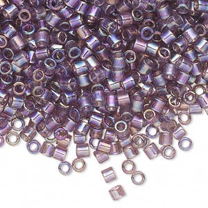 seed bead, delica, glass, transparent smoky amethyst purple rainbow, (dbl173), #8 round, 1.5mm hole. sold per 250-gram pkg.