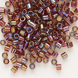 seed bead, delica, glass, transparent topaz brown rainbow, (dbl170), #8 round, 1.5mm hole. sold per 50-gram pkg.